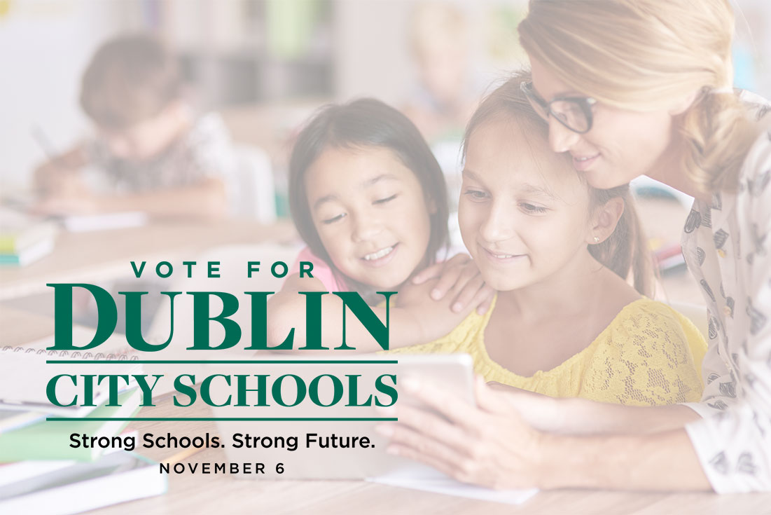 Vote for Dublin Schools, photo of teacher with two students